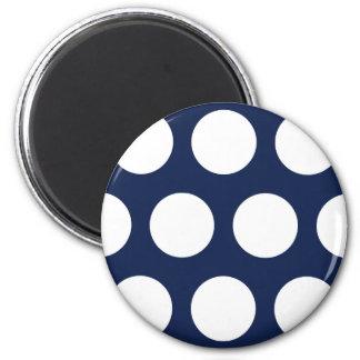Dark Blue with White Dots 6 Cm Round Magnet
