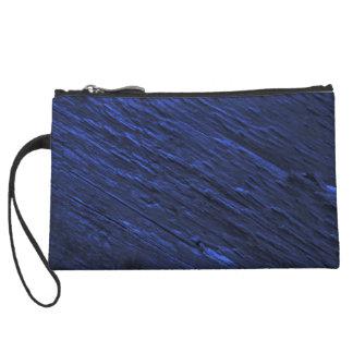 Dark Blue Woodgrain Textured Wristlet