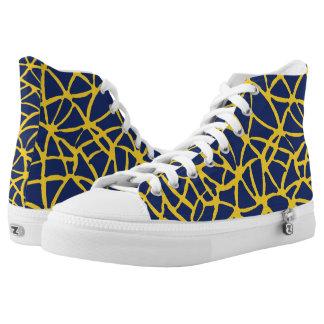 dark blue-yellow printed shoes