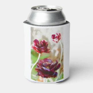 Dark Bordeaux Peony Flowering Tulip Trio Can Cooler