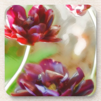 Dark Bordeaux Peony Flowering Tulip Trio Coaster