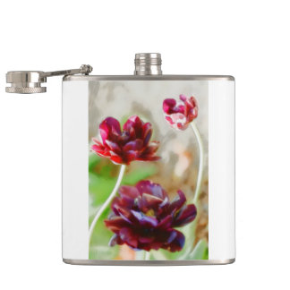 Dark Bordeaux Peony Flowering Tulip Trio Hip Flask