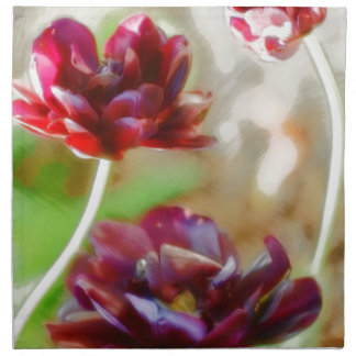 Dark Bordeaux Peony Flowering Tulip Trio Napkin