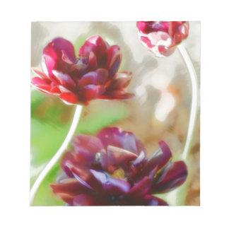 Dark Bordeaux Peony Flowering Tulip Trio Notepad