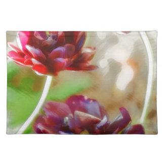 Dark Bordeaux Peony Flowering Tulip Trio Placemat