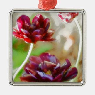 Dark Bordeaux Peony Flowering Tulip Trio Silver-Colored Square Decoration