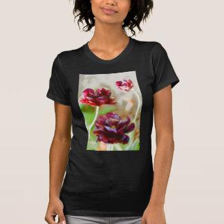 Dark Bordeaux Peony Flowering Tulip Trio T-Shirt