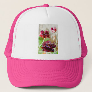 Dark Bordeaux Peony Flowering Tulip Trio Trucker Hat