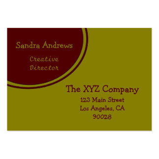Dark Brick Red and Gold Circle Business Card Template