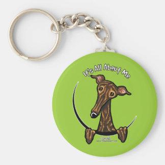 Dark Brindle Greyhound IAAM Basic Round Button Key Ring