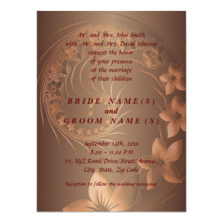 Dark Brown Abstract Flowers 17 Cm X 22 Cm Invitation Card