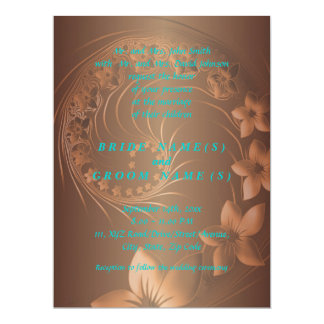 Dark Brown Abstract Flowers 17 Cm X 22 Cm Invitation Card