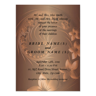 Dark Brown Abstract Flowers Invites