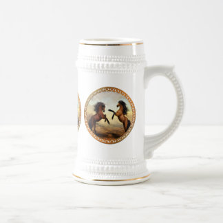 Dark Brown And Light Brown Friesian Draft Horses Beer Stein