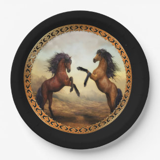 Dark Brown And Light Brown Friesian Draft Horses Paper Plate