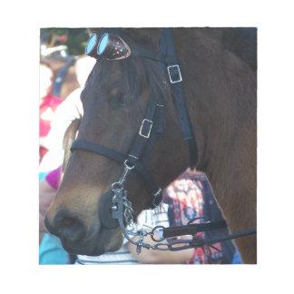 Dark Brown Arabian Horse wearing goggles Notepad