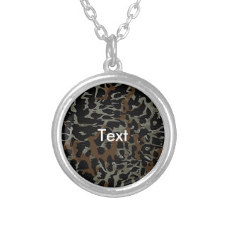 Dark Brown Black Cheetah Abstract Round Pendant Necklace