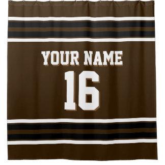 Dark Brown Black White Stripes Sports Jersey Shower Curtain