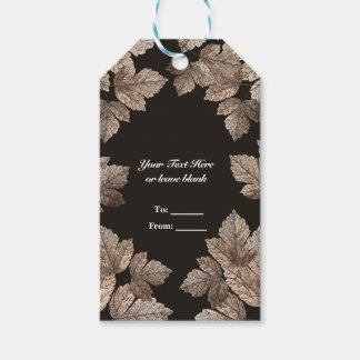 Dark Brown & Bronze Leaves Rustic Fall Party Favor Gift Tags