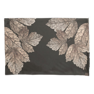 Dark Brown & Bronze Leaves Rustic Glam Fall Pillowcase