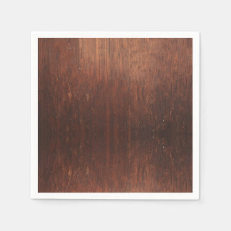 Dark Brown Faux Wood Disposable Serviettes