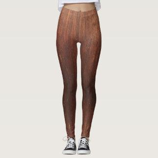 Dark Brown Faux Wood Leggings