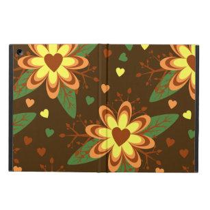 Dark Brown Floral iPad Air Cover