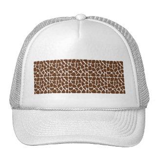 Dark Brown Giraffe Pattern Mesh Hats