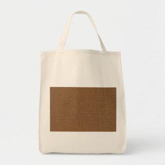 Dark brown jute burlap photo realistic canvas bag