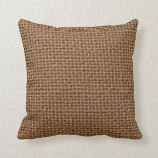 Dark brown jute burlap photo realistic cushion