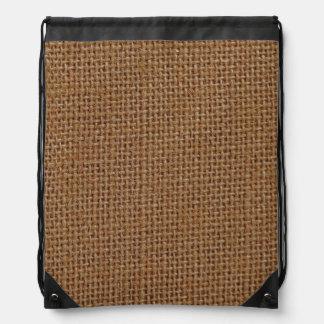 Dark brown jute burlap photo realistic drawstring backpacks