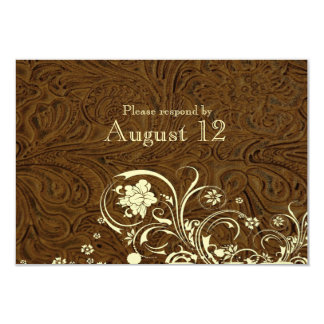 Dark Brown Leather Cream Lace RSVP with envelopes Card