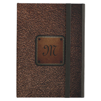 Dark brown leather look brown tag cover for iPad air