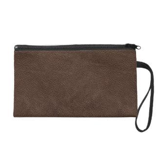 Dark brown leather texture wristlets