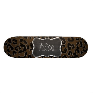 Dark Brown Leopard Animal Print; Chalkboard Skateboard Decks
