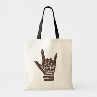 Dark Brown Lets Rock Today Grunge Tote Bag