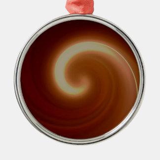 Dark Brown Light Spiral Art Metal Ornament