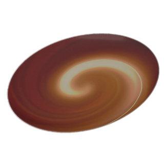 Dark Brown Light Spiral Art Plate