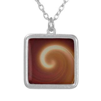 Dark Brown Light Spiral Art Silver Plated Necklace