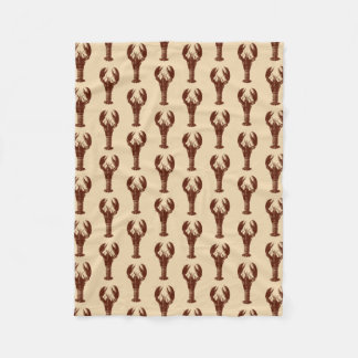 Dark Brown Lobster on Light Beige Fleece Blanket
