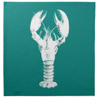 Dark Brown Lobster on Turquoise / Teal Napkin