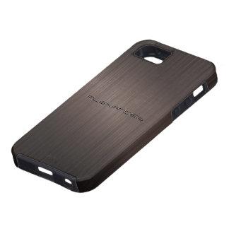 Dark Brown Metallic Look Pattern-Monogram Tough iPhone 5 Case