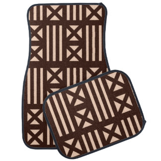 Dark Brown MudCloth Inspired Tile Tiling Cross Car Mat