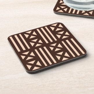 Dark Brown MudCloth Inspired Tile Tiling Cross Coaster
