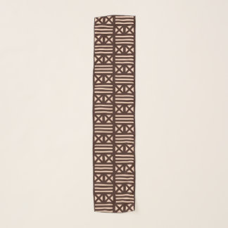Dark Brown MudCloth Inspired Tile Tiling Cross Scarf