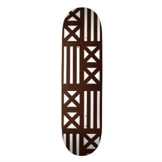 Dark Brown MudCloth Inspired Tile Tiling Cross Skate Boards