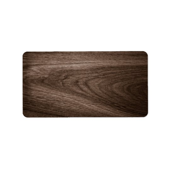 Dark brown oak wood grain blank address label