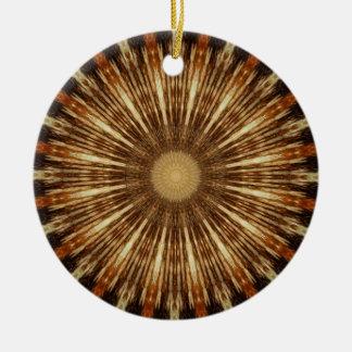 Dark Brown Orange Kaleidoscope Mandala Art Round Ceramic Decoration