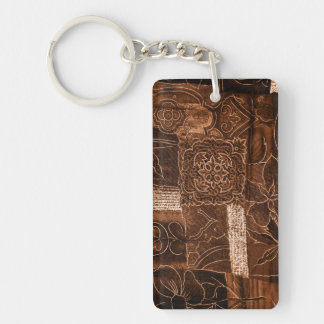 Dark Brown Patchwork Single-Sided Rectangular Acrylic Key Ring