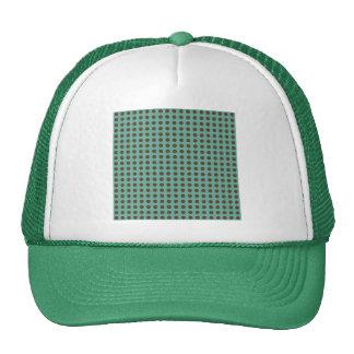 DARK BROWN POLKADOTS MINTY GREEN BACKGROUNDS DOTS HATS